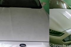 Ford Fusion Алюминиевый капот. Последствия американского града. На Всей машине было около 1000 вмятин, которые успешно удалены беспокрасочным способом.
